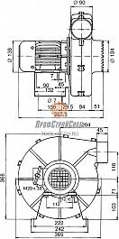 Размеры центробежного вентилятора среднего давления Leister ASO